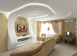 потолок с переходом на стену